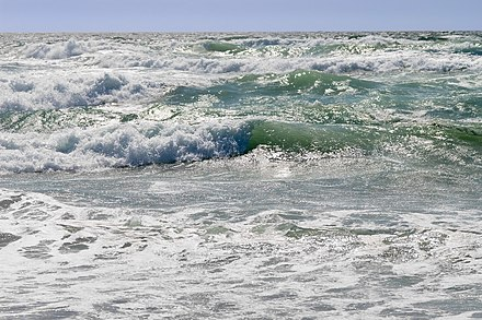 The ocean is an example of a natural resource. Ocean waves can be used to generate wave power, a renewable energy. Ocean water is important for salt production, desalination, and providing habitat for deep water fishes. There are biodiversity of marine species in the sea where nutrient cycles are common. Ocean waves.jpg