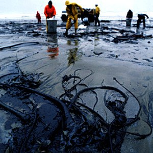 Environmental impact of the petroleum industry - A beach after an oil spill.