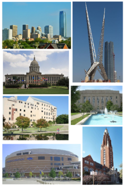 From top left to clockwise: Downtown skyline, SkyDance Pedestrian Bridge, City Hall, Gold Star Memorial Building, Chesapeake Energy Arena, Oklahoma City National Memorial, state capitol.
