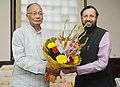 Okram Ibobi Singh meeting the Minister of State for Information and Broadcasting (Independent Charge), Environment, Forest and Climate Change (Independent Charge) and Parliamentary Affairs, Shri Prakash Javadekar.jpg