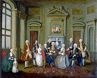 Richard Child, 1st Earl Tylney - The Tylney Family in the Saloon at Wanstead by Old Nollekens, 1740. The Earl is seated at right, attended by his son John, right; his wife sits at the table opposite 3rd son Lt. Josiah RN, whilst a daughter in blue stands behind. To the left is the infant James Long, with father Sir Robert Long looking on. (Coll. Fairfax House, York, CT198.327)
