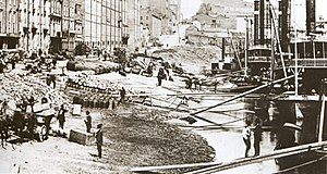 History of Nashville, Tennessee - The Nashville Wharf, photographed shortly after the American Civil War