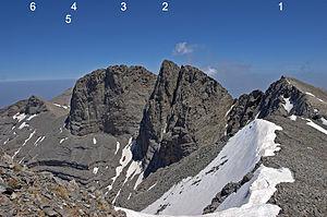 Main peak of Olympus seen from Skolio.  Skala (1), Mytikas (2), Stefani (3), Profitis Ilias (4), SEO-Hütte (5), Touba (6)