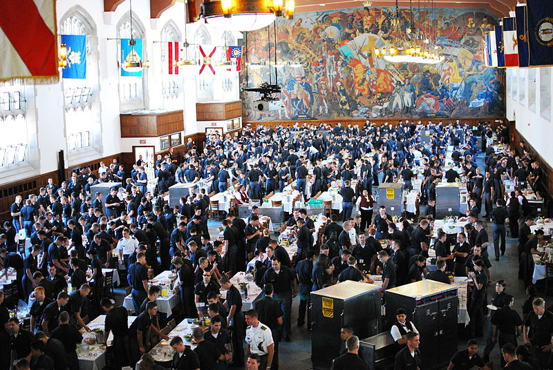 One of six wings of Washington Hall, the Cadet Mess Hall at the United States Military Academy at West Point, NY during lunch.JPG