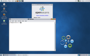 OpenSolaris - OpenSolaris 2009.06 x86 LiveCD GNOME with terminal.