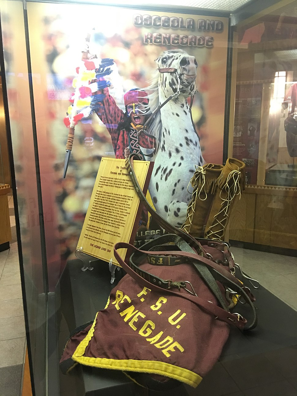 Osceola and Renegade display at the Moore Athletic Center