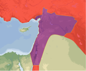 Ottoman Syria - Ottoman territories which intersected with modern-day Syria or with Greater Syria are shown in purple; other territories are shown in red.