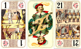 French tarot trick-taking card game for four players using the traditional 78-card tarot deck