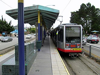 San Francisco State University station - Outbound train at the station in 2017