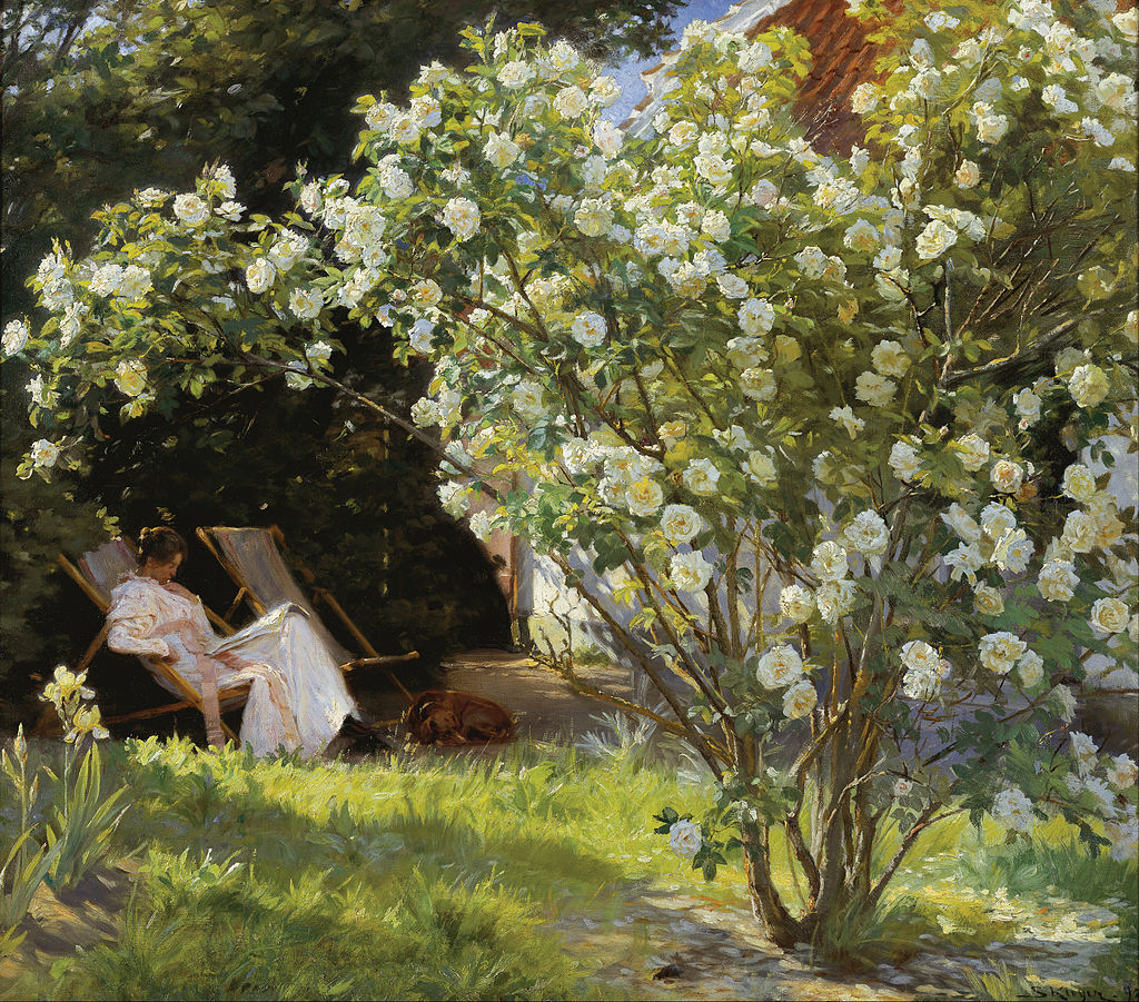 P.S. Krøyer - Roses. Marie Krøyer seated in the deckchair in the garden by Mrs Bendsen's house - Google Art Project.jpg