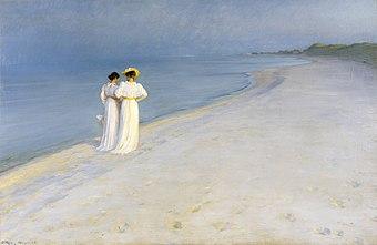 P.S. Krøyer - Summer evening on Skagen's Beach. Anna Ancher and Marie Krøyer walking together. - Google Art Project.jpg