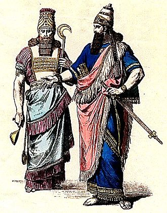 Neo-Assyrian Empire - Costumes of an Assyrian High Priest (left) and a King (right).