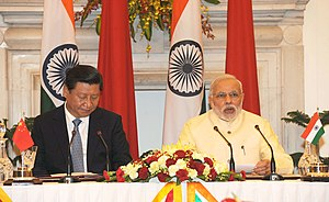 China–India relations - Prime Minister Narendra Modi of India and President Xi Jinping of China, during the latter's state visit to India, September 2014.