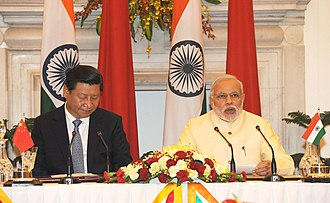 China–India relations - President Xi Jinping of China and Prime Minister Narendra Modi of India, during the former's state visit to India, September 2014.