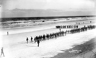 Jacksonville Beach, Florida - US Army volunteers marching on the beach during the Spanish–American War