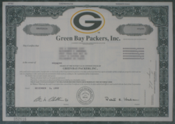 A share of stock issued by the Packers in 1997