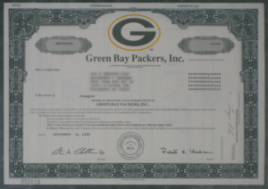 An image of a stock issued by the Green Bay Pa...