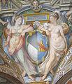Palazzo capponi-vettori, salone poccetti, pennacchio con stemma capponi ridolfi, 2.JPG