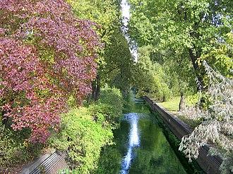 Panke - Canalised Panke River in Berlin-Gesundbrunnen