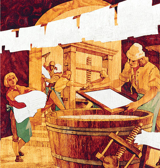 Painting of paper-making at Hahnemühle