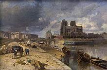 Johan Barthold Jongkind, Paris, Notre-Dame vue du quai de la Tournelle, (1852).