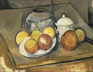 Straw-Trimmed Vase, Sugar Bowl and Apples