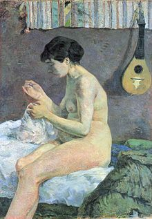 Nudo di donna che cuce, olio su tela, 115x80 cm, 1880, Ny Carlsberg, Copenaghen