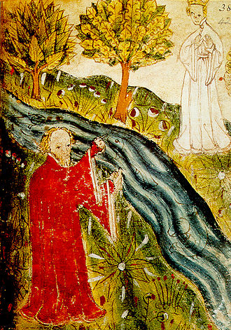Allegory - Pearl, miniature from Cotton Nero A.x. The Dreamer stands on the other side of the stream from the Pearl-maiden. Pearl is one of the greatest allegories from the High Middle Ages