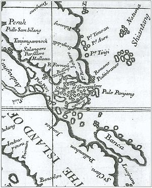 "Riau-Lingga Sultanate - Alexander Hamilton's ""A Map of the Dominions of Johore and of the Island of Sumatra with the Adjacent Islands"" (1727). Illustrating mainland Johore, eastern Sumatra, Singapore, Bangka and Riau Archipelago as a single political entity, the map was made a century prior to the partition of 1824."