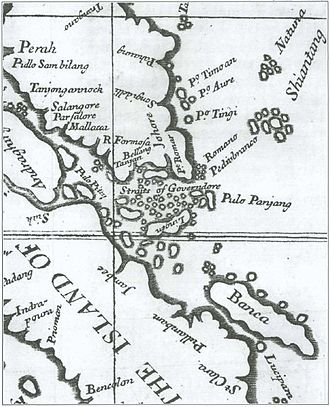 """Riau-Lingga Sultanate - Alexander Hamilton's """"A Map of the Dominions of Johore and of the Island of Sumatra with the Adjacent Islands"""" (1727). Illustrating mainland Johore, eastern Sumatra, Singapore, Bangka and Riau Archipelago as a single political entity, the map was made a century prior to the partition of 1824."""