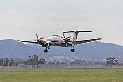 Pel-Air Aviation, contracted for Ambulance Victoria, (VH-VAE) Raytheon Beech Super King Air B200C departing from Avalon Airport during the 2015 Australian International Airshow.jpg