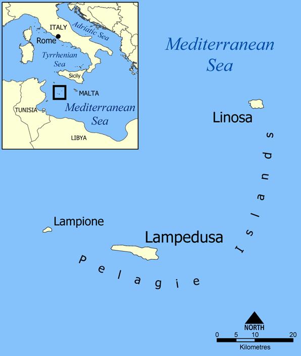 Pelagie Islands map