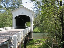Photograph of a covered bridge