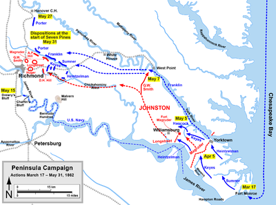 Peninsula Campaign, map of events up to the Battle of Seven Pines