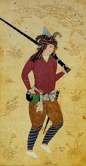 Gunpowder Empires - Persian Musketeer in time of Abbas I by Habib-Allah Mashadi after Falsafi (Berlin Museum of Islamic Art).
