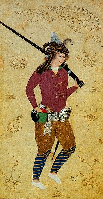 Persian Musketeer in time of Abbas I by Habib-Allah Mashadi after Falsafi (Berlin Museum of Islamic Art). Persian Musketeer.jpg