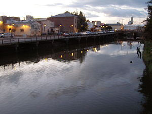 Petaluma, California - Looking north along the Petaluma River from downtown wooden pedestrian bridge