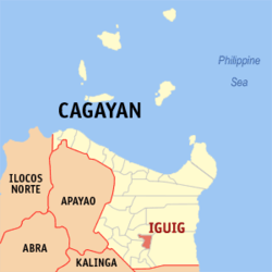 Map of Cagayan with Iguig highlighted