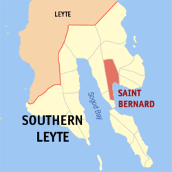Map of Southern Leyte with Saint Bernard highlighted