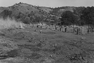 Friant Dam - U.S. government photograph of several re-interned Native Americans whose graves had been in the dam's planned reservoir