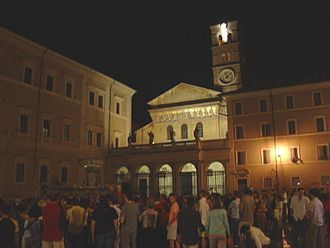 Trastevere - Piazza Santa Maria in Trastevere at night