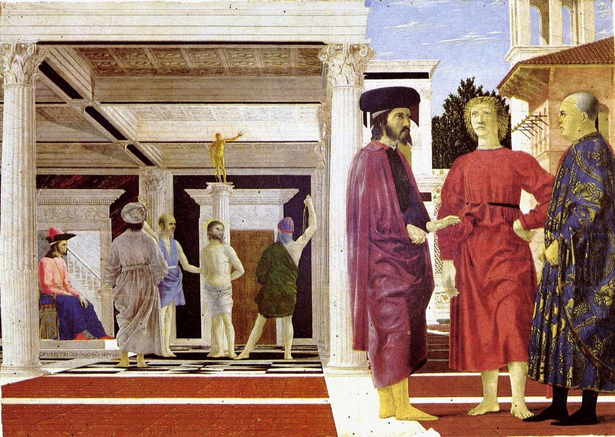 Rectangular panel painting. The composition is divided in two, with an interior scene and an exterior scene. To the left, the pale, brightly lit figure of Jesus stands tied to a column while a man whips him. The ruler sits to the left on a throne. The building is Ancient Roman in style. To the right, two richly dressed men and a barefooted youth stand in a courtyard, much closer to the viewer, so appearing larger.