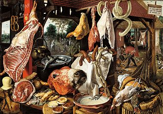 A Meat Stall with the Holy Family Giving Alms - Image: Pieter Aertsen 005