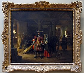 Officer paying a woman in a stable
