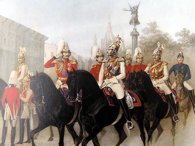 Николай I и цесаревич Александр Николаевич среди офицеров лейб-гвардии Конного полка. Среди офицеров полка— Пётр Ланской.