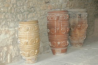 "Minoan pottery - ""Medallion Pithoi"", or storage jars, at the Knossos palace. Named from the raised disks, they date to MM III/LM IA."