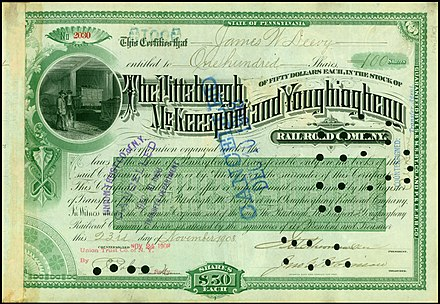 Share of the Pittsburgh, McKeesport & Youghiogheny Railroad Company, issued 23. November 1908 Pittsburgh, McKeesport and Youghiogheny RR 1908.jpg