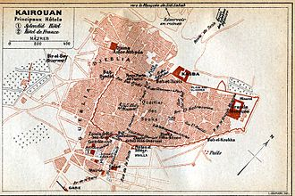 Great Mosque of Kairouan - Map of Kairouan (1916) showing the location of its Great Mosque in the northeast corner of the medina