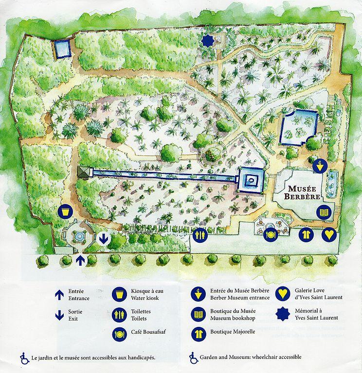 Plan du jardin de Majorelle à Marrakech avec son admirable musée berbère.