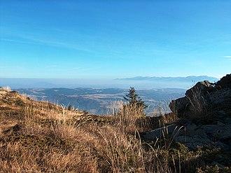 Plana (mountain) - Plana from Golyam Kupen Peak, Vitosha Mountain; Rila Mountain on the horizon.
